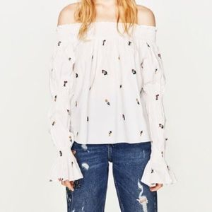 NWT Zara White Floral Embroidered Bell Sleeve Top